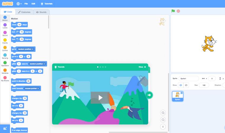 Ambiente sviluppo codice con App Scratch