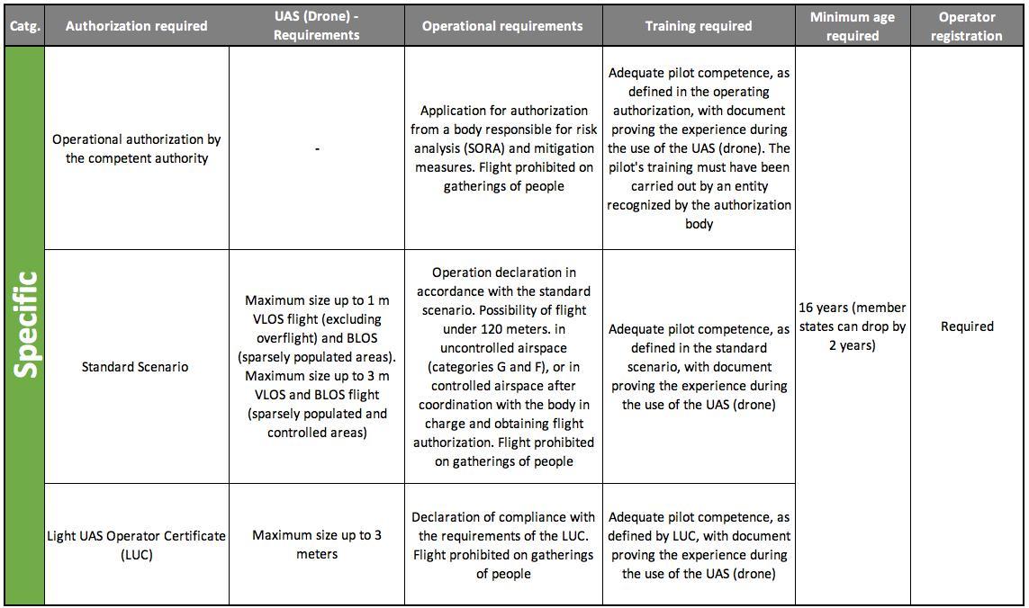 Specifc Category Summary Table